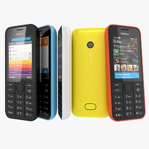 nokia 208 207 phone 3d model