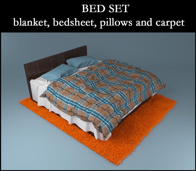 3d model bed blanket bedsheet pillows