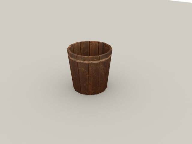 3d model wooden bucket
