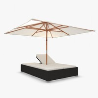 Garden Rattan Lounge Chaise with Umbrella