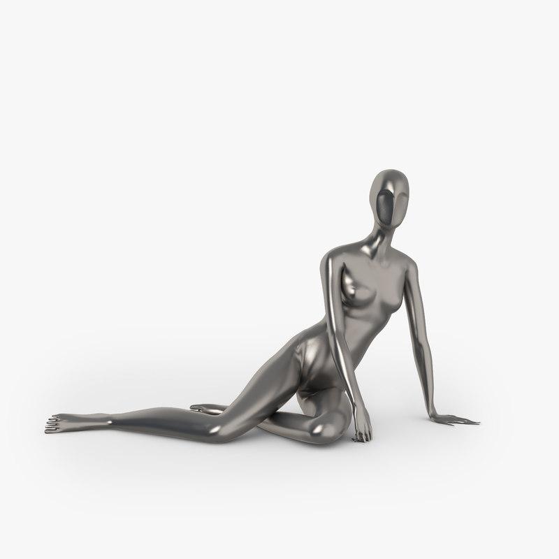 3d model slim female mannequins
