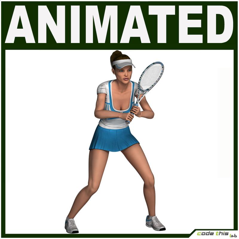 3d tennis female model