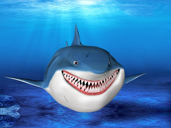 bruce shark cartoon 3d model