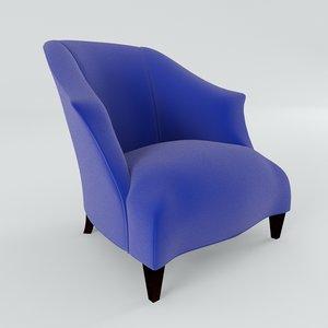donghia upholstered shell chair 3d model