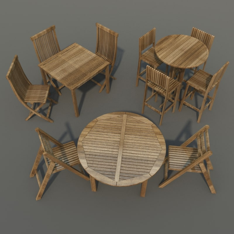 set tables chairs 3ds