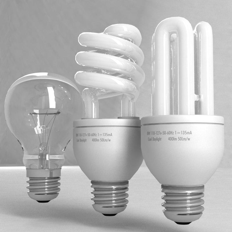 3d model bulbs fluorescent incandescent