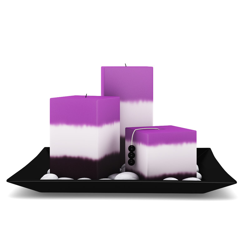 purple white candles 3d model