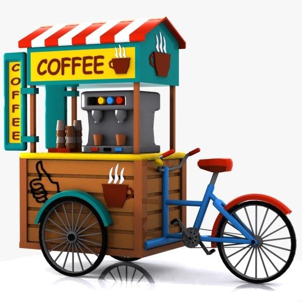 3ds max cartoon coffee bicycle