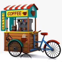 3ds max cartoon coffee bicycle