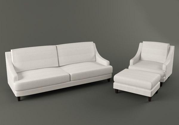 landon sofa armchair ottoman 3d model