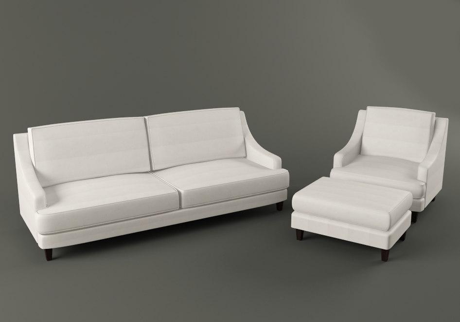 landon sofa armchair ottoman 3d model rh turbosquid com Pottery Barn Sectional Pottery Barn Sectional