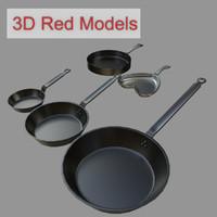 frying pans 3d obj