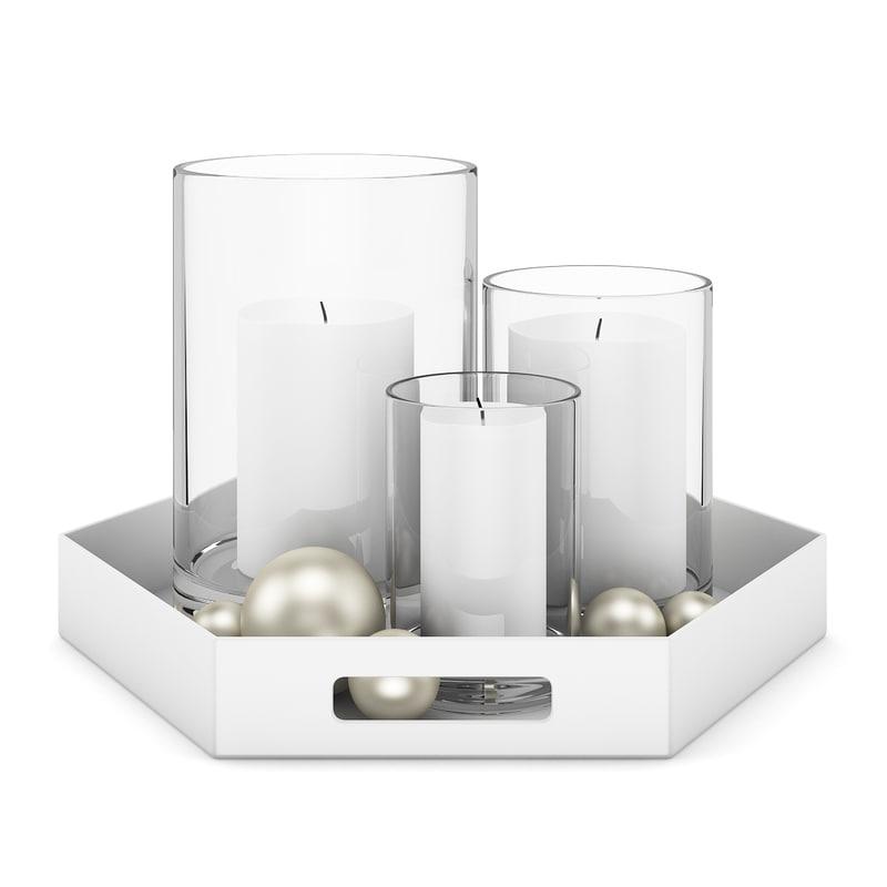 white candles set