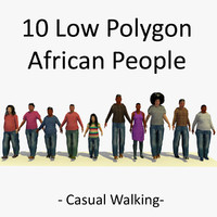 3D African People Walking Collection