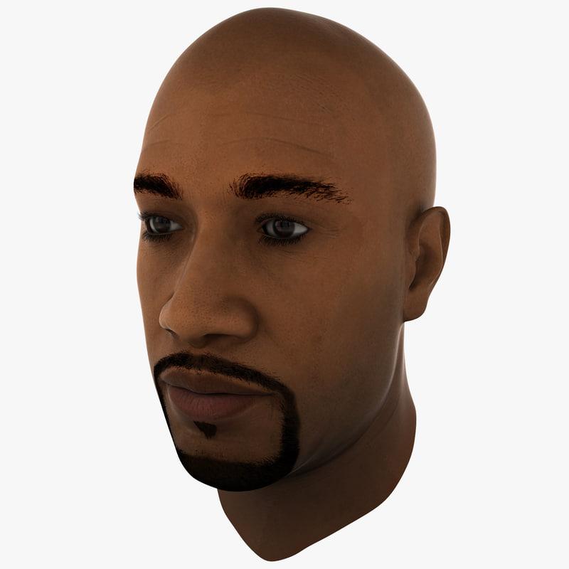black male head 2 3d model