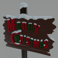 christmas sign decoration 3d x