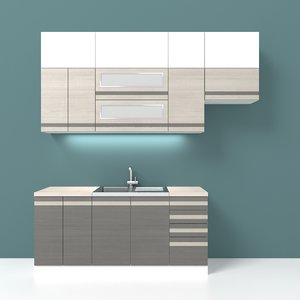3d max simple kitchen cabinets