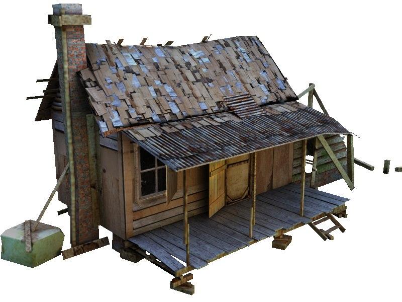 3d old village house model