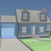 3d stylised cartoon house