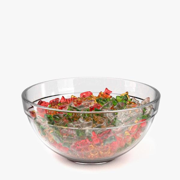 3d bowl gummy bears model
