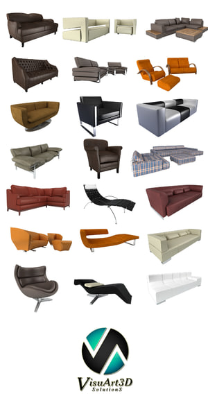 3d model modern sofas couches