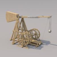 medieval mangonel 3d model