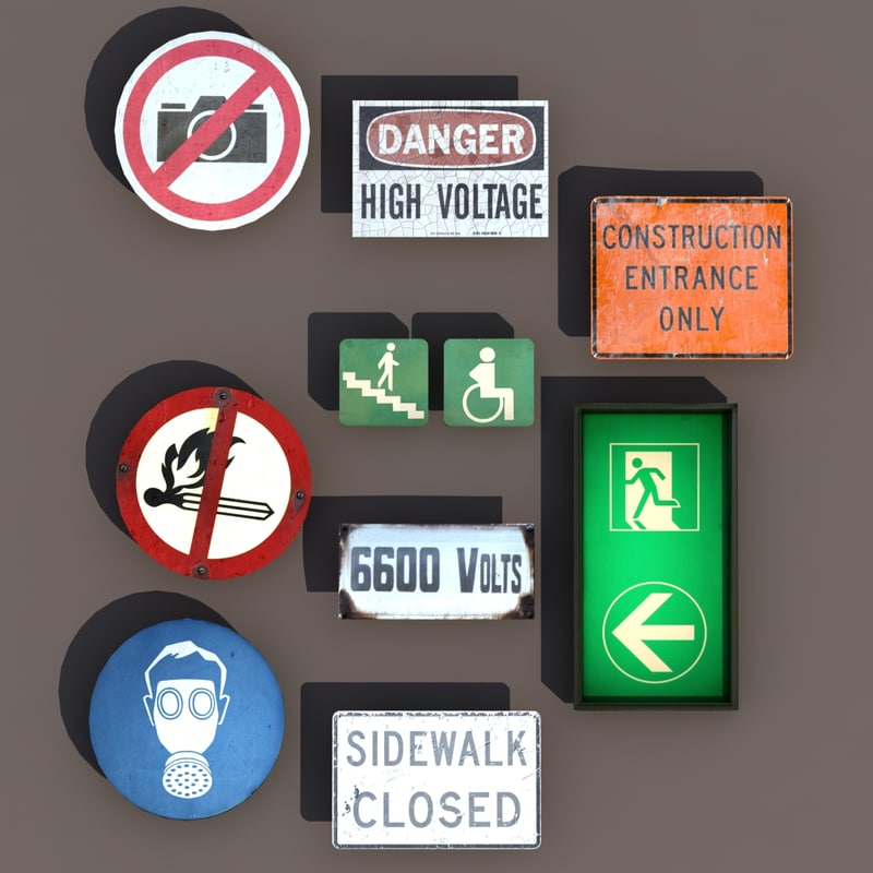 3d city signs modeled model