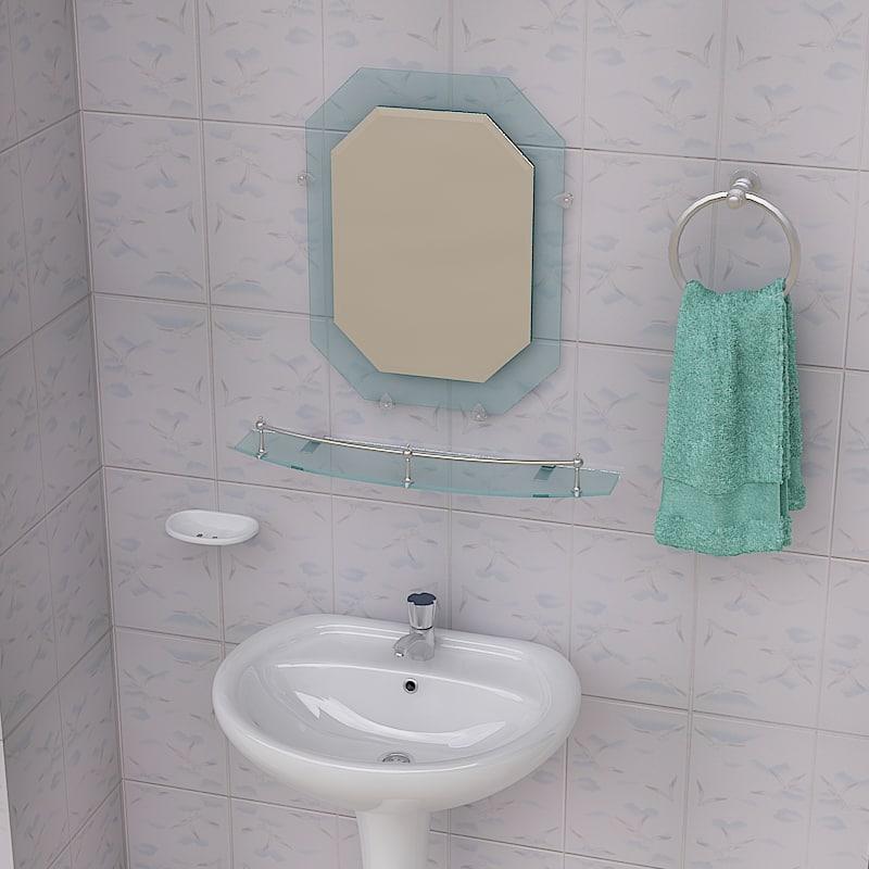 bathroom pedestal sink props 3d max