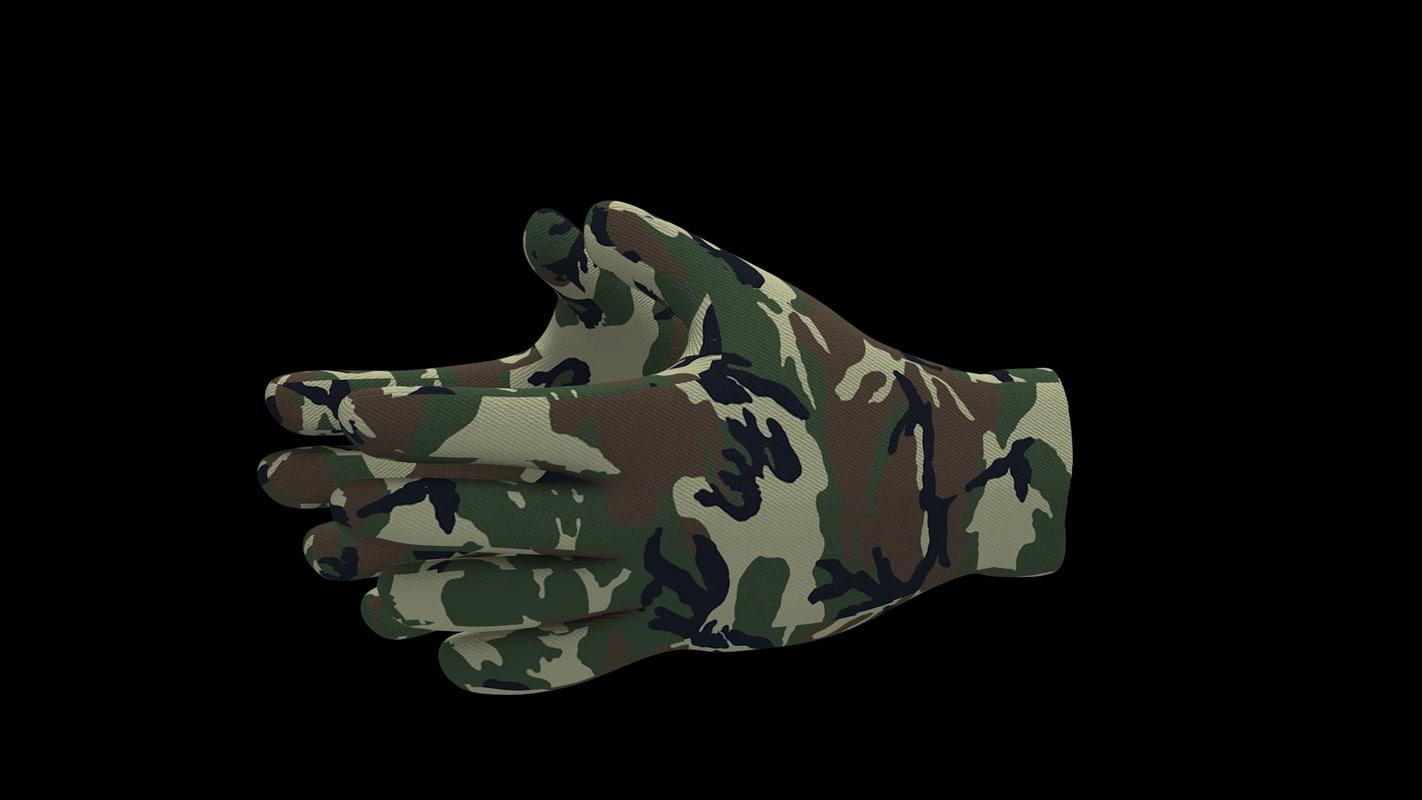 3d model of camouflage gloves