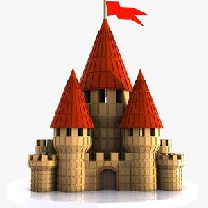 3d cartoon castle toon