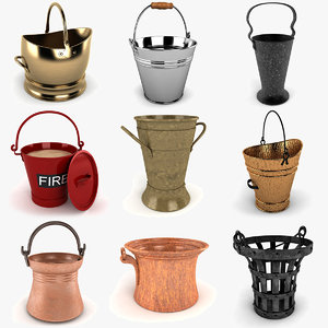 bucket metal planter 3d model