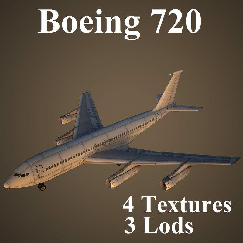 3d boeing 720 model