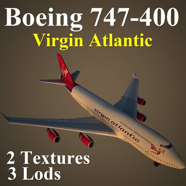 boeing 747-400 vir 3d model