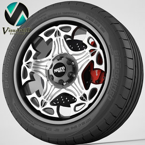 3d wheel moto metal model