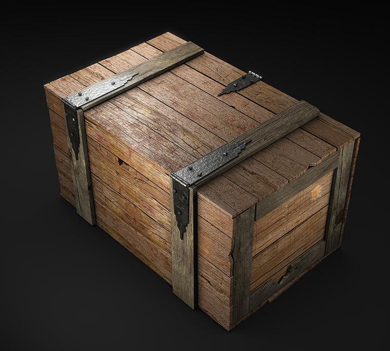 wooden box wood 3d model