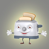 3d model of cartoon toaster