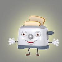 3d model of cartoon toaster