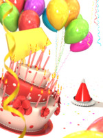 Birthday cake with balloons