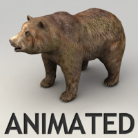 Animated lowpoly grizzly bear