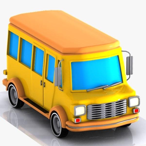 cartoon minibus bus 3d max