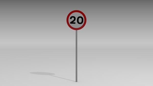 20 speed limit sign 3d model