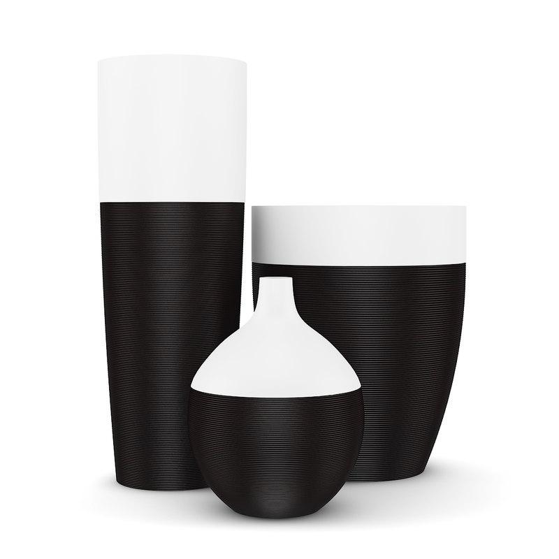 black white vases 3d max