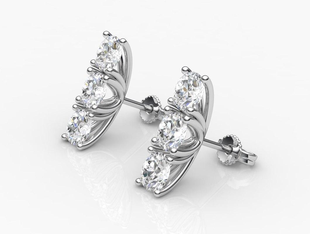 earrings diamond 3d 3dm