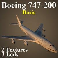 3d model boeing 747-200 basic