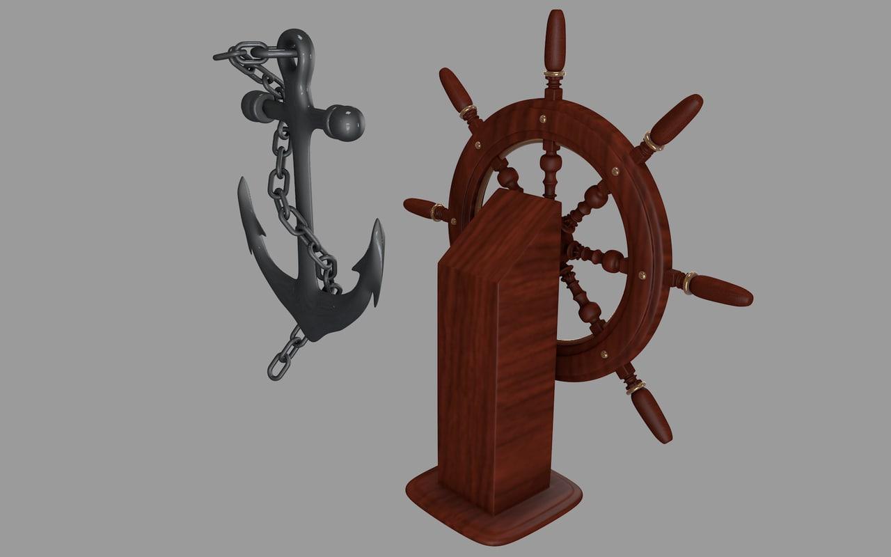 3ds anchor ship wheel