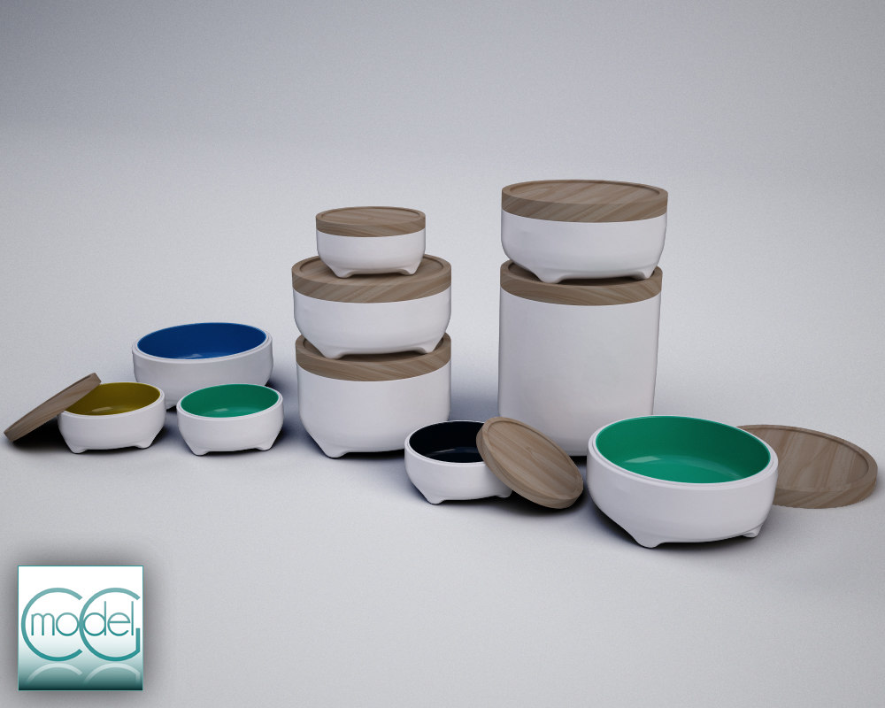 kitchen containers 3d 3ds