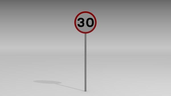 30 speed limit sign 3d obj