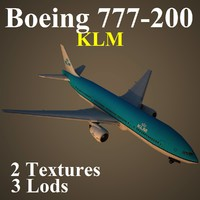 boeing 777-200 klm 3d max