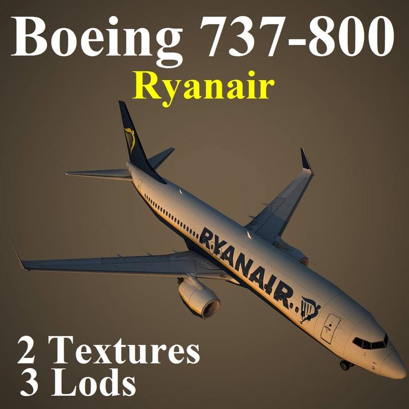 3d boeing 737-800 rya