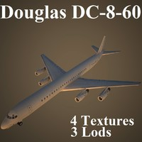 3d max douglas dc-8-60 low-poly